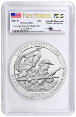 2017-P George Rogers Clark 5 oz. Silver America the Beautiful Specimen Coin PCGS SP70 FS Mercanti Signed Flag Label