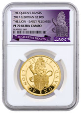 2017 Great Britain 1 oz Gold Queen's Beasts - Lion of England Proof £100 Coin NGC PF70 UC ER Exclusive Queen's Beasts Label