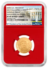 2017 Equatorial Guinea Donald Trump 1/10 oz Gold Proof Fr. 3000 Coin NGC PF69 UC (Red Core Holder - Exclusive White House Label)