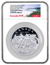 2017 Canada The Taking of Vimy Ridge - Easter Monday 1917 10 oz Silver Matte Proof $100 Coin NGC PF69 UC ER (Exclusive Canada Label)
