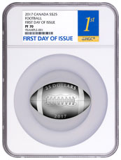 2017 Canada Football-Shaped 1 oz Silver Proof $25 Coin NGC PF70 FDI