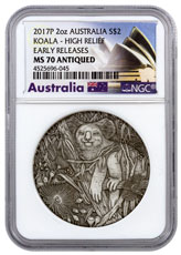 2017-P Australia 2 oz High Relief Silver Koala Antiqued $2 Coin NGC MS70 ER (Exclusive Australia Label)