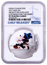 2017 Niue Disney Mickey Through the Ages - Delayed Date 1 oz Silver Colorized Proof $2 Coin NGC PF70 UC ER