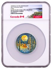 2017 Canada Animals in the Moonlight - Lynx 2 oz Silver Colorized Glow in the Dark Proof $30 Coin NGC PF70 UC ER (Exclusive Canada Label)