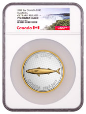 2017 Canada Big Coin Series - Alex Colville Designs - Mackerel 5 oz Silver Gilt Proof 10c Coin NGC PF69 UC ER (Exclusive Canada Label)