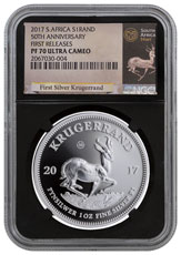 2017 South Africa 1 oz Silver Krugerrand Proof Coin Scarce and Unique Coin Division NGC PF70 UC FR (Black Core Holder - Exclusive Krugerrand Label)
