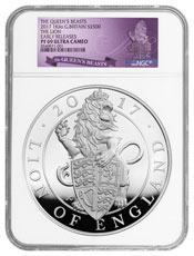 2017 Great Britain 1 Kilo Silver Queen's Beasts - Lion of England Proof £500 Coin NGC PF69 ER Exclusive Great Britain Label