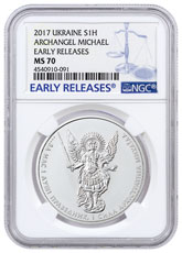 2017 Ukraine 1 oz Silver Archangel Michael NGC MS70 ER