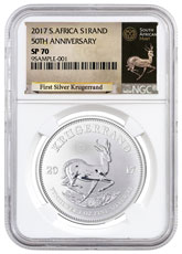 2017 South Africa 1 oz Silver Krugerrand Premium Uncirculated Coin NGC SP70 (Exclusive South Africa Label)