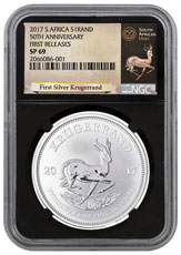 2017 South Africa 1 oz Silver Krugerrand Premium Uncirculated Coin NGC SP69 FR (Black Core Holder - Exclusive Krugerrand Label)