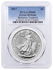 2017 Great Britain 1 oz Silver Britannia - Textured Fields £2 Coin PCGS MS69