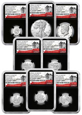 8-Coin Set - 2017-S U.S. Limited Edition Silver Proof Coins Set NGC PF70 UC FR Black Core Holder Exclusive U.S. Mint 225th Anniversary Label
