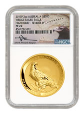 2017 Australia 2 oz High Relief Gold Wedge-Tailed Eagle Reverse Proof $200 Coin - Scarce and Unique Coin Division NGC PF70 Mercanti Signed Label
