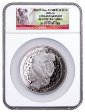2017 Australia 10 oz Silver Koala - 10th Anniversary Proof $10 Coin NGC PF69 UC Exclusive Koala Label