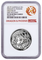 2017-P Australia 1 oz High Relief Silver Dragon & Phoenix Proof $1 Coin NGC PF70 UC FR Dragon & Phoenix Label