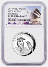 2017-P Australia 1 oz High Relief Silver Kookaburra - Proof $1 Coin NGC PF69 UC Exclusive Australia Label