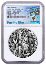 2017-P Tuvalu Norse Goddesses - Frigg High Relief 2 oz Silver Antiqued $2 Coin NGC PF70 Exclusive Pacific Rim Label