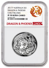 2017-P Australia 1 oz High Relief Silver Dragon & Phoenix Proof $1 Coin NGC PF70 UC ER