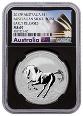 2017-P Australia Stock Horse 1 oz Silver $1 Coin NGC MS69 ER Black Core Holder Exclusive Australia Label