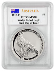 2017-P Australia 1 oz Silver Wedge-Tailed Eagle $1 Coin PCGS MS70 FDI (Mercanti Signed Label)