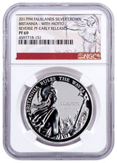 2017-PM Falkland Islands Silver Britannia - Britannia Rules the Waves 1 oz Silver Reverse Proof 1 Crown Coin With Motto NGC PF69 ER Exclusive Britannia Label