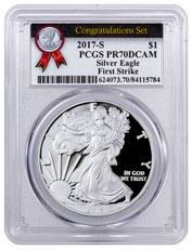 2017-S Proof Silver Eagle - Congratulations Set PCGS PR70 DCAM FS Congratulations Set Label