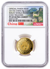 2017-(S) China Berlin World Money Fair 8 g Gold Show Panda Proof Medal NGC PF69 UC ER Exclusive China Label