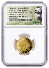 2017-(S) China Berlin World Money Fair 8 g Gold Show Panda Proof Medal NGC PF69 UC ER Exclusive Panda Label