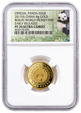 2017-(S) China Berlin World Money Fair 8 g Gold Show Panda Proof Medal NGC PF70 UC ER Exclusive Panda Label