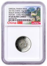 2017 China Berlin World Money Fair 1 oz Silver Show Panda Proof Medal NGC PF69 UC ER Exclusive China Label