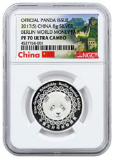 2017 China Berlin World Money Fair Silver Panda 8 g Silver Proof Medal NGC PF70 UC (Exclusive Great Wall Label)