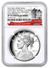 2017-W United States American Liberty 225th Anniversary 1 oz Silver Enhanced Uncirculated Medal NGC SP70 ER Exclusive U.S. Mint 225th Anniversary Label