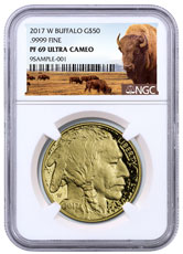 2017-W 1 oz Gold Buffalo Proof $50 NGC PF69 UC Buffalo Label