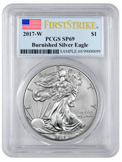 2017-W Burnished American Silver Eagle PCGS SP69 FS Flag Label