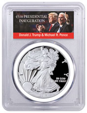 2017-S Proof Silver Eagle - Congratulations Set PCGS PR70 DCAM FDI White Gasket Exclusive Trump & Pence Label