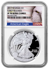 2017-W Proof American Silver Eagle NGC PF70 UC ER (Exclusive American Eagle Label)