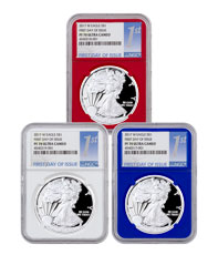2017-W Proof Silver Eagle 3-Coin Set NGC PF70 UC First Day of Issue (Red, White & Blue Core Holder)
