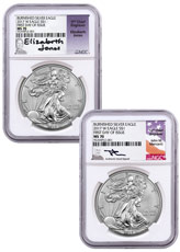Set of 2 - 2017-W Burnished American Silver Eagle NGC MS70 FDI Mercanti Jones Signed Labels