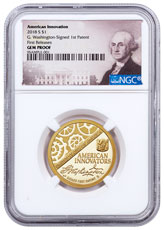 2018-S American Innovation Washington-Signed First Patent Commemorative Clad Dollar Proof Coin NGC GEM Proof FR Washington Label