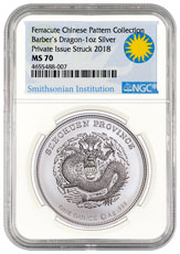 2018 Smithsonian Charles Barber's Dragon Pattern 1 oz Silver Medal NGC MS70