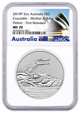 2019-P Australia 2 oz Silver Mother & Baby Crocodile - Piedfort $2 Coin NGC MS70 FR Opera House Label