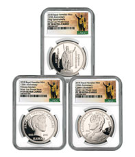 Royal Hawaiian Mint King Kalakaua I 125th Anniversary 3-Coin Set 1 oz Silver Proof Medal NGC PF70