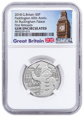 2018 Great Britain Paddington Bear - At Buckingham Palace 8 g Cupronickel 50p Coin NGC GEM Unc FR Exclusive Big Ben Label