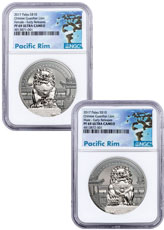 2017 Palau Chinese Guardian Lion - Set of 2 Coins High Relief 2 oz Silver Proof $10 Coin NGC PF69 UC ER Exclusive Pacific Rim Label