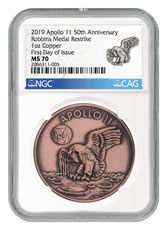 1969-2019 Apollo 11 50th Anniversary Robbins Medals 1 oz Copper Antiqued Medal NGC MS70 FDI