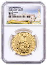 2018 Great Britain 1 oz Gold Queen's Beasts - The Black Bull of Clarence £100 Coin NGC MS70 ER Exclusive Queen's Beasts Label