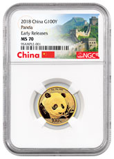 2018 China 8 g Gold Panda ¥100 Coin NGC MS70 ER Exclusive Great Wall Label