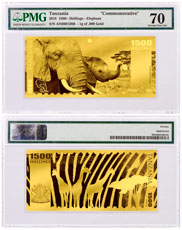 2018 Tanzania Big 5 - Elephant Foil Note Gold Prooflike Sh1,500 Coin PMG Gem Unc 70