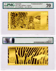 2018 Tanzania Big 5 - Leopard Foil Note Gold Prooflike Sh1,500 Coin PMG Gem Unc 70