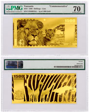 2018 Tanzania Big 5 - Lion Foil Note 1g Gold Prooflike Sh1,500 Coin PMG Unc 70
